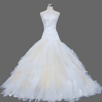 A-line/Princess  Spaghetti Straps Court Train Satin Tulle  Wedding Dresses With Embroidery Lace Beading