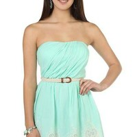 strapless embroidered pleated belted casual dress - debshops.com