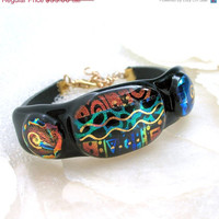 New Listings Sale Curved Dichroic Glass and Leather Bracelet in Tropical Cha - Cha Colors