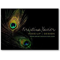 Photography Colorful Peacock Feathers Profile Card Business Cards from Zazzle.com