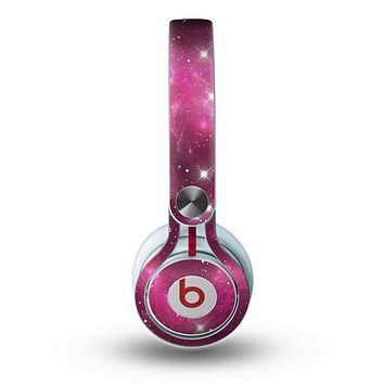 The Glowing Pink Nebula Skin for the Beats by Dre Mixr Headphones