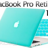 """Kuzy - 2in1 Retina 13-Inch TEAL Rubberized Hard Case and Keyboard Cover for Apple MacBook Pro 13.3"""" with Retina Display Models: A1502 and A1425 (NEWEST VERSION) - Teal / Turquoise HOT Blue"""