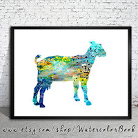 Goat Watercolor Print, Archival Fine Art Print, Children's Wall Art, Home Decor, Goat art, watercolor painting, animal print, Goat print