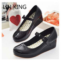 LIN KING New Lolita Sweet Lourie Cosplay Single Women Shoes Lady Wedge Shoes Fashion Women Pumps Platform Leisure Party Shoes