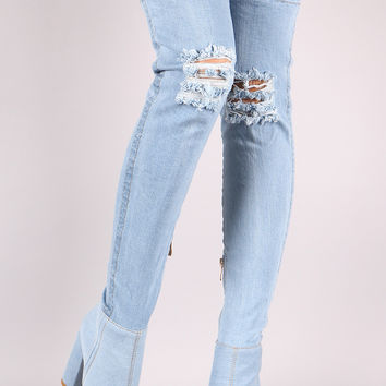 "Distressed Denim Chunky Heeled Over-The-Knee Boots Knee High Boots Heel Height: 4.25"" Shaft Length: 28"" (including heel) Top Opening Circumference: 16"" Light Blue Denim & Dark Blue Denim"