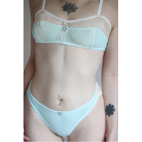 Baby Blue Lace and Mesh Bra and Panty Set