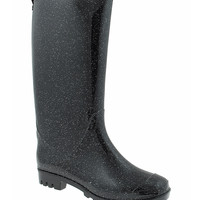 Capelli New York Black Shiny Glitter Rain Boot | zulily