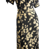 Black and Ivory Floral Sheer Garden Party Dress circa 1930s XXL