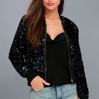 All Eyes on You Navy Blue Multi Sequin Bomber Jacket