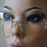 Day-First™ Oversized Womens Vintage Retro Style Clear Lens Sun glasses Rimless Silver Frame