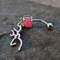 Browning Deer Head Pink with Pink Fire Opal Belly Ring Arrow 14ga Body Jewelry Navel Ring Body Piercing