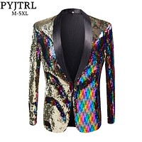 New Mens Stylish Gold Colorized Double-Color Sequins Blazer Nightclub Bar Stage Singer Costume Wedding Groom Suit Jacket