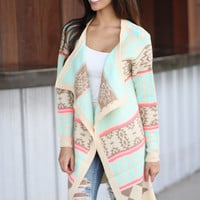 Cream And Neon Pink Long Cardigan