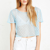 Vintage O&O Lace Crop Top in Blue - Urban Outfitters