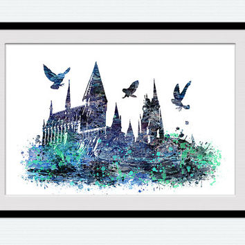 Hogwarts castle poster Harry Potter watercolor print Hogwarts castle print Home decoration Kids room wall art Wall hanging decor  W415