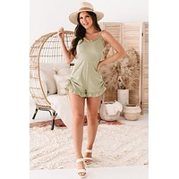 Porch Swing Angel Ruffled Side Ruched Romper (Sage)