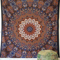LARGE FABRIC Multi color Psychedelic Wall Tapestry Hippie Star Mandala Wall Hanging Throw Boho Bedspread Home Decorative Ethnic