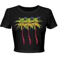 Party Palm Tree Neon: Custom Junior Fit Bella Crop Top T-Shirt - Customized Girl