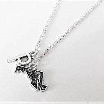 Maryland necklace initial necklace state jewelry Maryland map necklace best friend jewelry no matter where monogram necklace bff gift her