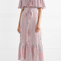 MDS Stripes - Rebecca off-the-shoulder ruffled striped cotton-jersey midi dress