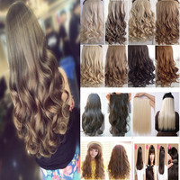"""18-26"""" 45-66CM 100%Real Natural Hair Extention One Piece 3/4 Full Head Hairpiece Clip in Hair Extensions Curly Wavy US Fast SHIP"""