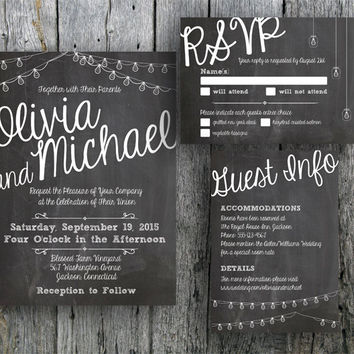 Printable Chalkboard Wedding Invitation Suite - DIY Invitation, RSVP and Guest Information Card