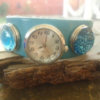 3 CHUNKS LEATHER button BRACELET with 2 buttons and watch in turquoise