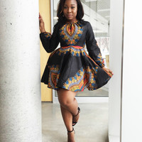 THE ZHARA Dashiki Dress in Noir