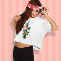 Floral Cross T Shirt - Black or White