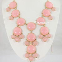 ON SALE Smooth Peach Pink Bubble NecklaceGold ToneBib by WuJewelry
