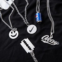 ins smiley nike necklace couple long long hair hip-hop tide pendant Pepsi
