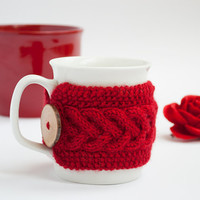 Cup Cozy in Red, Knitted Mug Cozy, Coffee Cozy, Tea Cup Cozy, Handmade Wooden Button, Coffee Cozy Sleeve, Warmer, Christmas, Gift
