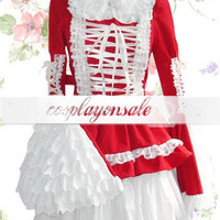 Sweet Red Long Sleeves Cotton Lolita Dress [T110694] - $74.00 : Cosplay, Cosplay Costumes, Lolita Dress, Sweet Lolita