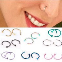 TWO Tiny Gold Silver or Black Fake Nose Ring No Piercing Needed