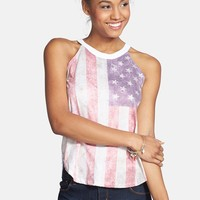 Recycled Karma American Flag Graphic Tank (Juniors)