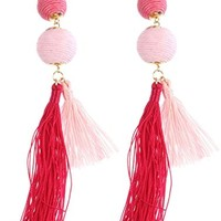 Fuchsia 2 Ball Thread Tassel Pom Pom Earrings LFE2618GDFSH