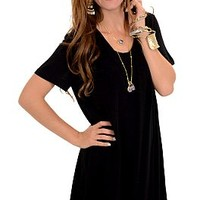 Vneck Tshirt Dress, Black