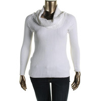 INC Womens Ribbed Knit Long Sleeves Funnel-Neck Sweater