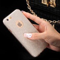 For Apple iPhone 6 6s Case For iPhone 6 6S Plus Combo Hard Plastic + Soft TPU Clear Cover Sparkle Glitter Powder Back Phone Case