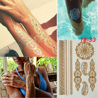Sexy Golden Henna Temporary Tattoo