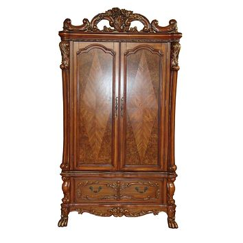 """Affordable Furniture - 38"""" X 82"""" X 38"""" Cherry Oak Wood Poly Resin TV Armoire"""