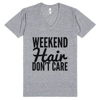 Weekend Hair Don't Care V-neck T-shirt (idb520056)-T-Shirt