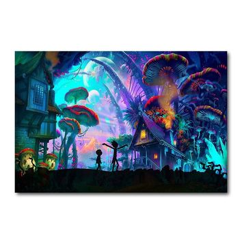 Rick and Morty Cartoon Anime Silk Poster Mushroom House Abstract Wall Art Print 12x18 24x36 inch Decoration Pictures Wallpaper 2