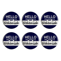 Nehemiah Hello My Name Is Plastic Resin Button Set of 6