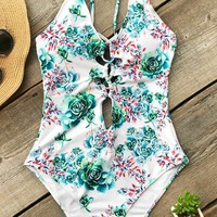 Cupshe Camellia Blossom Print One-piece Swimsuit