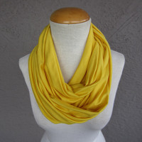 Yellow Infinity Scarf - Canary Circle Scarf - Light Yellow Jersey Scarf