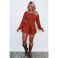 End Of Time Romper: Rust