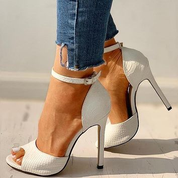New solid color snake print women's ankle buckle fish mouth bag heel sandals shoes