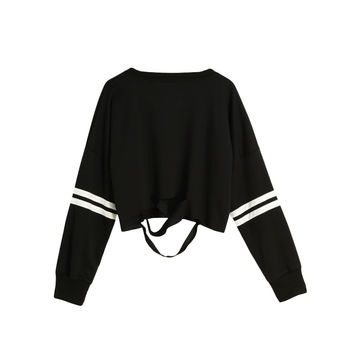 Women Black Sweatshirt Casual Shirt Stripe Cut Out Slashed Hoodies Long Sleeve Pullover Loose Top Kpop Clothes SM6