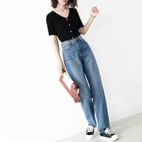 """Calvin Klein"" Women All-match Fashion Retro Bell-bottomed Pants Denim Distressed Tight Jeans Trousers Slim-fit Pants"